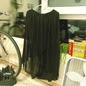 Brand New High Low Pleated Chiffon Maxi Skirt